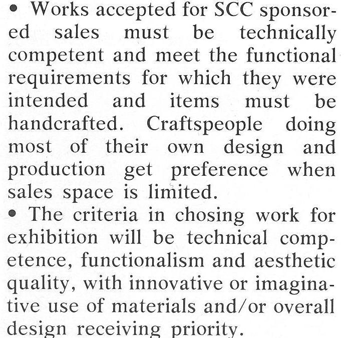 The Craft Factor – SCC Adopts Sale Standards