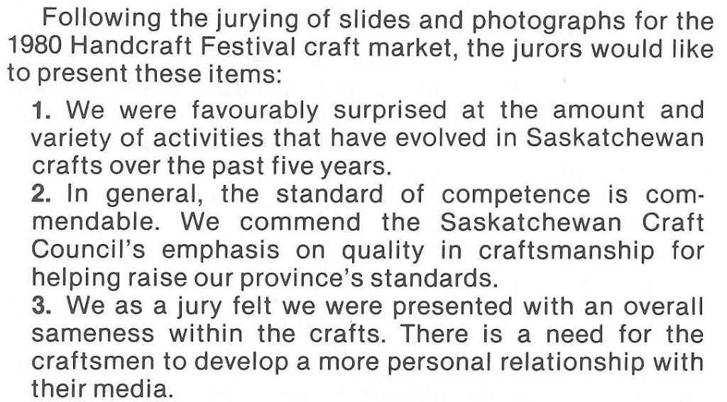 The Craft Factor – Sask Handcraft Festival 1980 – 1990