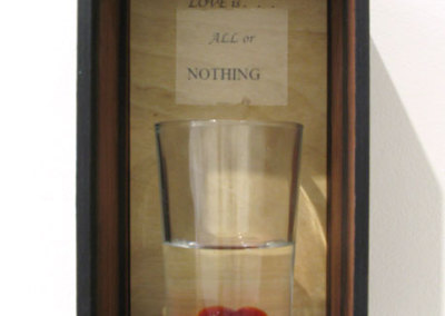 All or Nothing (Up Morelli), 2014: Macassar Ebony, Baltic Birch, glass, orange oil; Assemblage. $625