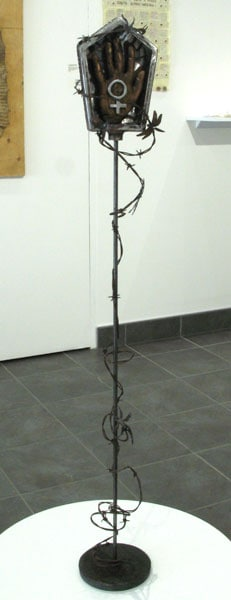 Shrine to the Silenced (Miranda Jones), 2014: Mild steel, Pine; metal fabricating, wood carving. $1,200