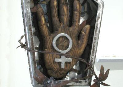 Shrine to the Silenced - detail (Miranda Jones), 2014: Mild steel, Pine; metal fabricating, wood carving. $1,200