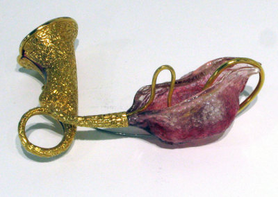 Intonation (Mary Lynn Podiluk), 2012: Gold plated copper, resin, wool, steel; stamped, formed, cast, cold-enamelled plique-a-jour. $780
