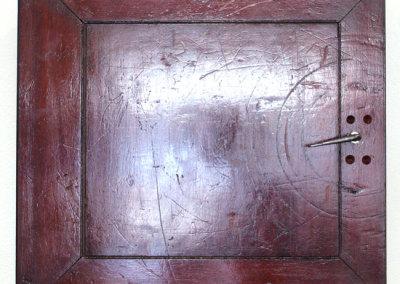 Cabinet of Nothing (Lorne Beug), 2014: Found door, Mahogany, Shellac, Wax, Masonite, earth pigments, hardware. $750