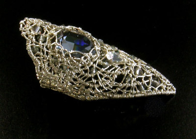 Silver Ring (Claire Prebble), 2012: Sterling silver wire, Swarovski crystals; woven, stitched. $1,500