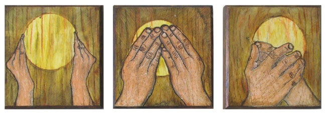Hear Nothing, Say Nothing, See Nothing (Russell Baldon), 2014: Paint on wood; triptych. $100