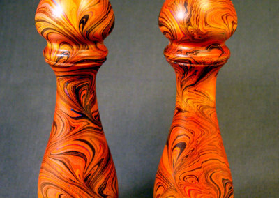 Orange Peacock pattern marbled S & P set