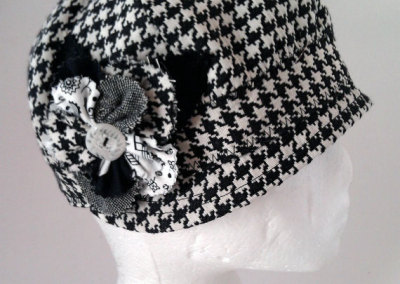Ladies Cloche Hat - Houndstooth with Rag Flower