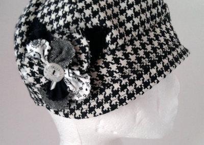 Ladies Cloche Hat - Houndstooth with Rag Flower