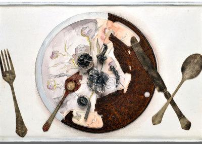 Brigitte Clavette, Nature Morte: Sterling silver, iron, paper. 46x31x5cm, 2012.