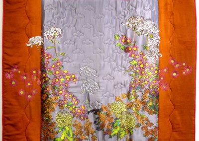 Japenese Chrysanthemum Quilt, 2008. Hand-dyed silk, ink-jet printed silk satin, pearls; Hand stitching, embroidery, and hand painting, $2,100.