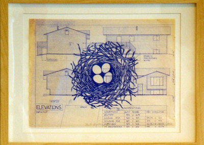 Nest Building VI, 2012: Ink on blueprint. $300