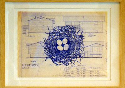 Nest Building VI, 2012: Ink on blueprint. $300