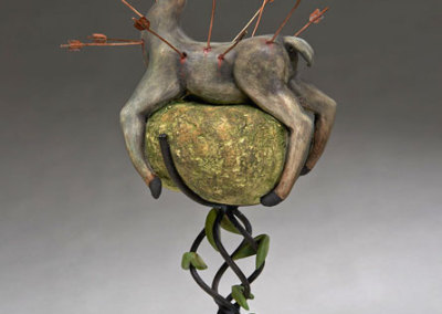 Deborah Potter: Little Deer, 2013. Ceramic sculpture, $400.
