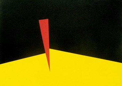 Hosaluk: Prairie Landscape (yellow, black, red) - 2013, Wood, acrylic. $800