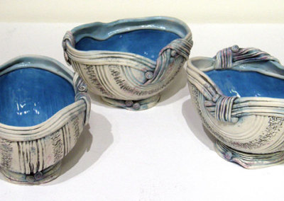 Lorraine Sutter, Troika: Porcelain clay, underglaze, glaze; wheel thrown, textured, altered, assembled. 2012, NFS.