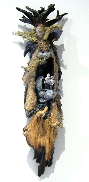 Leah Perlett, Auspice Tales: Found natural materials, vintage illustrations, papier-mâché, air dry clay, crystal; hand formed, assembled, collaged, painted. 2013, NFS.
