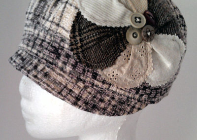 Ladies Cloche Hat - Wool Blend with Mixed Fibre Flower