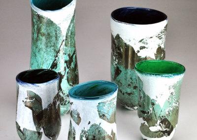 Copper Leaf on White Powder Vase Series
