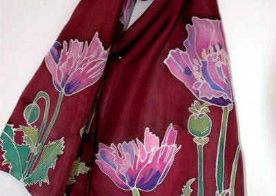 Oriental Poppy on Burgundy