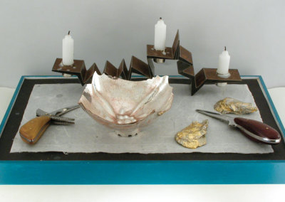 Lois Etherington Betteridge, 'Now if you're ready, Oysters dear, We can begin to feed.' Lewis Carroll: Sterling silver, gold leaf, tin, steel, exotic woods, epoxy. 46x31x14cm, 2012.