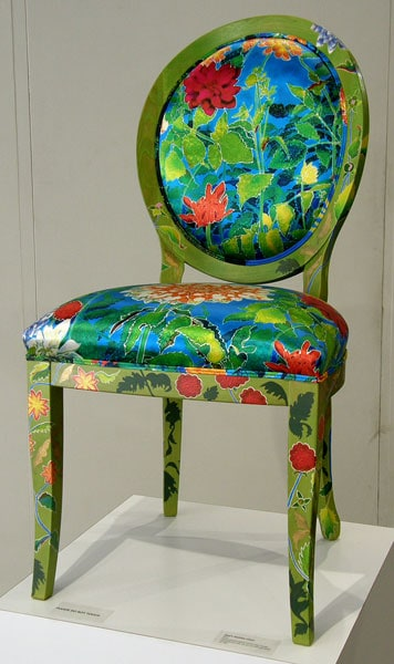 Dad's Dahlias Chair, 2011. Hand painted beech wood chair frame upholstered with ink-jet printed silk satin, $2,100.