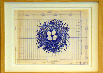 Nest Building I, 2012: Ink on blueprint. Collection of Michel Gauthier