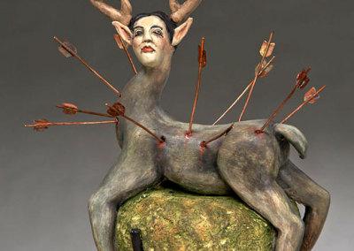 Deborah Potter: Little Deer (detail), 2013. Ceramic sculpture, $400.