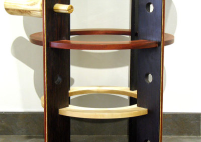 Mike Fulop, Vin Deco: Wengé, Padauk, Maple, Quilted Maple, glass; traditional wood joinery. 2013, $1,200.