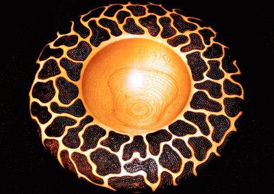 Giraffe pattern Pyrography bowl