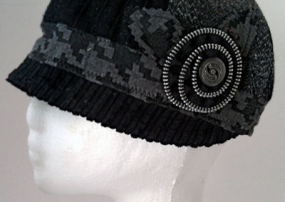 Ladies Cloche Hat - Quilted Wool Exterior with Zipper Rosette