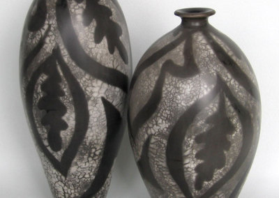 Two Vases-wheel thrown. Slip resist and reduction process.
