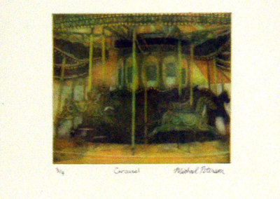 Michael Peterson, Carousel: Rag paper, colour etching inks; reductive aquatint. 2012, NFS.