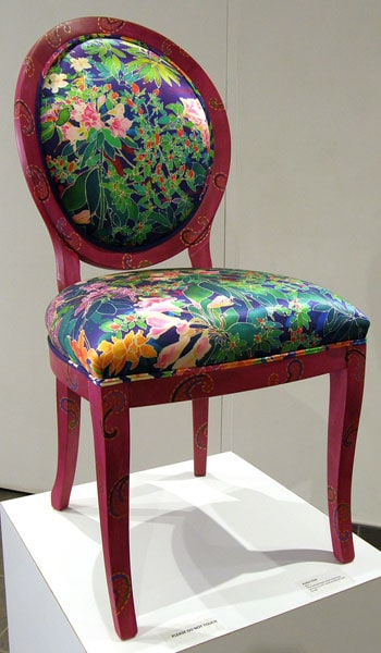 Azalea Chair, 2011. Hand painted beech wood chair frame upholstered with ink-jet printed silk satin, $2,100.
