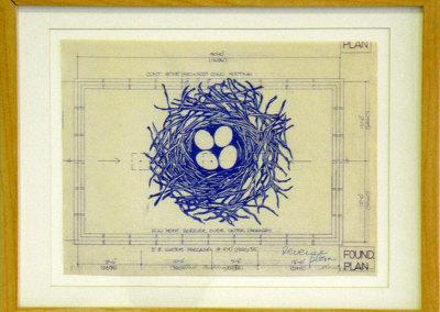 Nest Building III, 2012: Ink on blueprint. $300