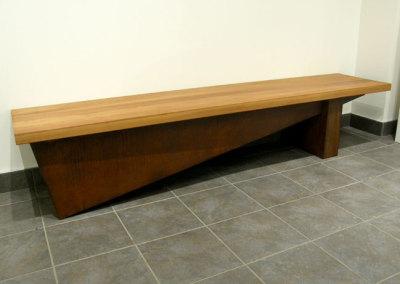 Hosaluk: Wedge Bench - 2013, Steel, fir. $5,000