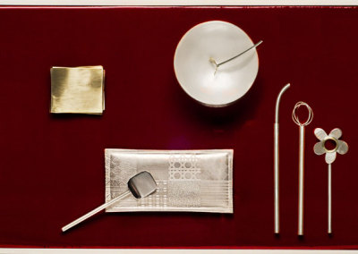 Anne Barros, Homage to el Bulli: Sterling silver, brass. 46x31x9cm, 2012.