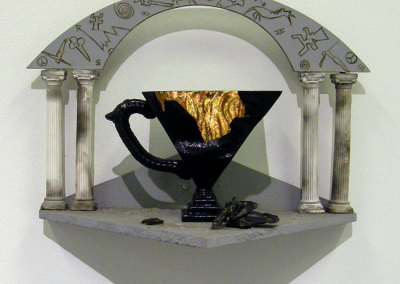 Getting a Handle on Civilization (Sandra Ledingham), 1990: Clay, glaze, gold leaf, wood. NFS