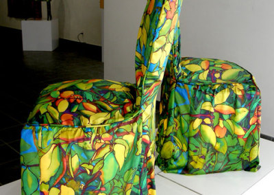 Persimmon Tree Seat Covers, 2012. Ink-jet printed silk satin, cotton lining, $375 each.