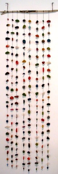 Drops: Heike Fink, Wood, Waxed Threads, Beads, Wooden Stick