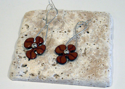 Enamel Flower Earrings, Melody Armstrong, 2010, Sterling silver & enameled copper