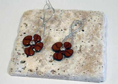 Enamel Flower Earrings, Melody Armstrong, 2010, Sterling silver & enameled copper