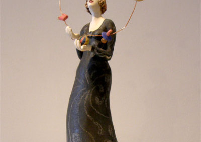Juggling Act - Deborah Potter (clay, underglaze, and copper wire)