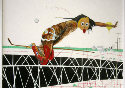 Flying Indian (Tim Moore) 2009: Mixed medium on board. Collection of The Mann Art Gallery.