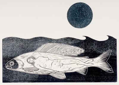 Once In A Blue Moon - Woodcut and Salt Etching, Paper