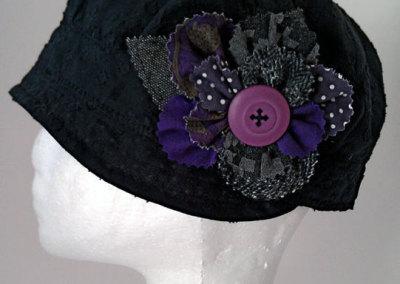 Ladies Cloche Hat - Black Linen with Rag Flower
