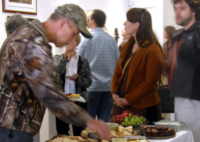 It is good to see someone admiring the work, even when standing next to the food!