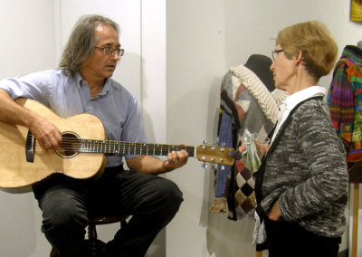Luthier David Freeman performed on one of his two guitars that were on display in The Jury's Out.