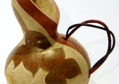 Julie-Anne Wallewein, Red Pitcher: Gourd, Dogwood branches; grinding, pyrography, colouring, waxing. 2010, $150.