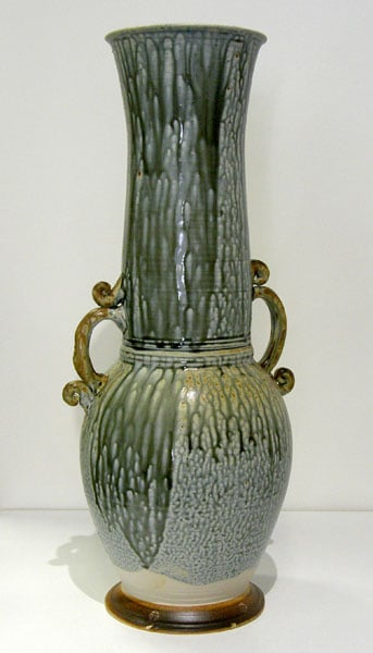 Blue Ash Vase (Zach Dietrich), 2010: Porcelain, wood ash glaze; Wheel thrown, hand built, assembled, wood fired. Collection of Dianne and Carlos Lara