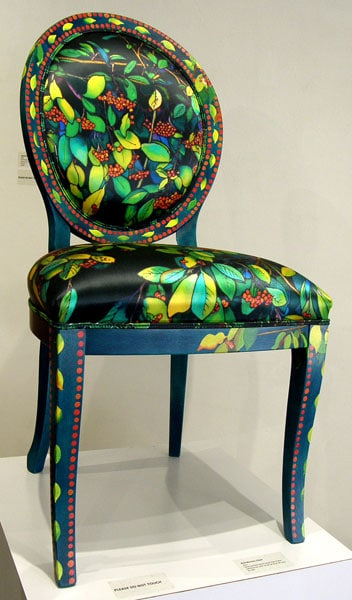 Red Berries Chair, 2011. Hand painted beech wood chair frame upholstered with ink-jet printed silk satin, $2,100.